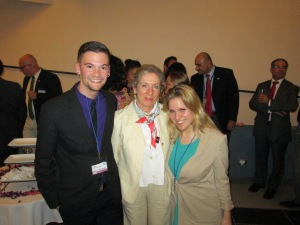 Pace University New York City students John Ciccarelli '15 (left) and Katie James '14 (right) with Swiss Ambassador to Costa Rica