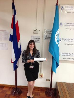 Elena Marmo '15, Pace University New York City Model United Nations head delegate at the 2013 UN University for Peace Model UN conference in Costa Rica.
