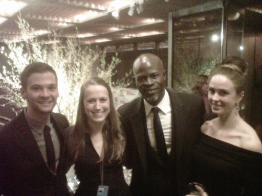 Pace University New York City students John Ciccarelli (left), Amanda Orcutt '13 (second from left) and Gillian Ashdown with Djimon Hounsou (second from right), two-time Academy Award-nominated actor and Oxfam Ambassador, at a meeting of campaigners and diplomats working on the Arms Trade Treaty negotiations in New York.