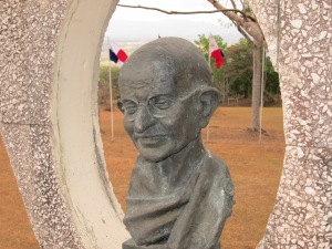 A statue of Mahatma Gandhi at the UN University for Peace in Costa Rica, where 13 students and two faculty from Pace University participated in a Model UN conference focused on peace issues in March.