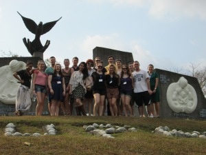 Pace University New York City Model United Nations students at the Monument for Disarmament, Work and Peace on the UN University for Peace's campus in Costa Rica.