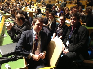 Pace University students in the General Assembly Room at the 2013 National Model United Nations conference.