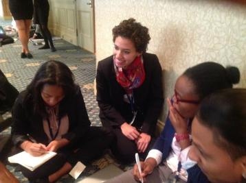 Pace University New York City student Diana Mendez '15 (second from left), representing Kenya in a simulation of the International Conference on Population and Development at the 2013 National Model UN conference in Washington DC.