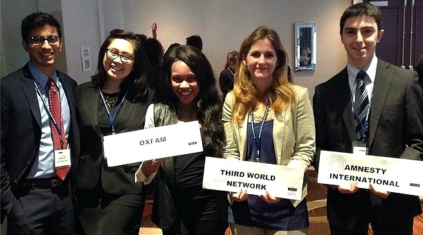 Harsh Mehta, Nelli Agbulos, Inemesit Essien, a friend and Vato Gogsadze in a simulation of the Commission on the Status of Women at the 2014 National Model UN conference in New York.