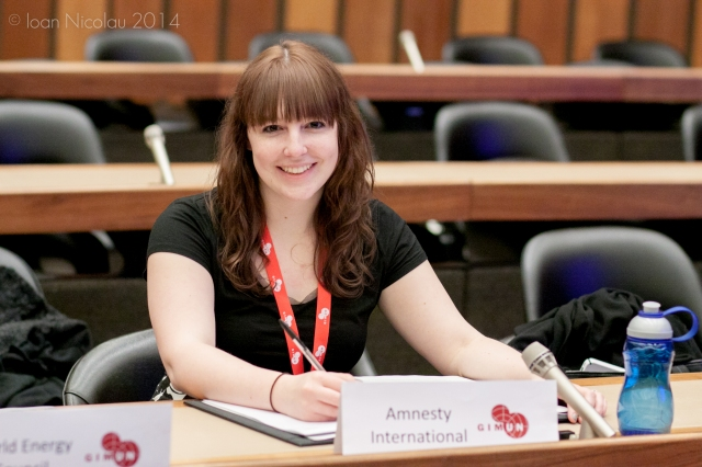 Pace University student Elena Marmo '15 representing Amnesty International in a simulation of the Human Rights Council at the 2014 Geneva International Model UN conference. Photo courtesy of GIMUN.