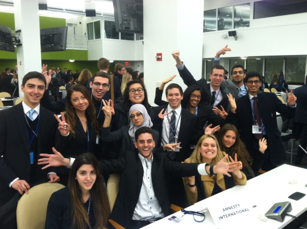 Pace University New York City Model United Nations students at the Union Nations participating in the 2014 National Model UN conference.