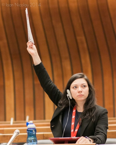 Pace University student Jackie Kelleher '15 representing Venezuela in a simulation of the Human Rights Council at the 2014 Geneva International Model UN conference. Photo courtesy of GIMUN.