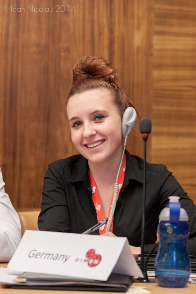 Pace University student Klaudia Remiszewska '15 representing Germany in a simulation of the UN Development Programme  at the 2014 Geneva International Model UN conference. Photo courtesy of GIMUN.