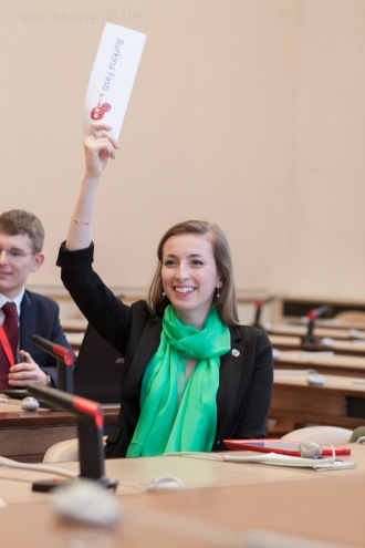 Pace University student Kyla Korvne '15 representing Burkina Faso in a simulation of the Economic and Social Council at the 2014 Geneva International Model UN conference. Photo courtesy of GIMUN.