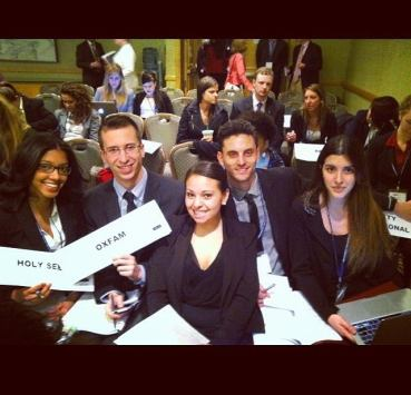 (Left to Right) Gisselle Rodriguez, Hartley Cavallaro, Natalia Morales, Matthew Jamele and Lilly Bogner participating in a simulation of the UN High Commissioner for Refugees at the 2014 National Model UN conference in New York.