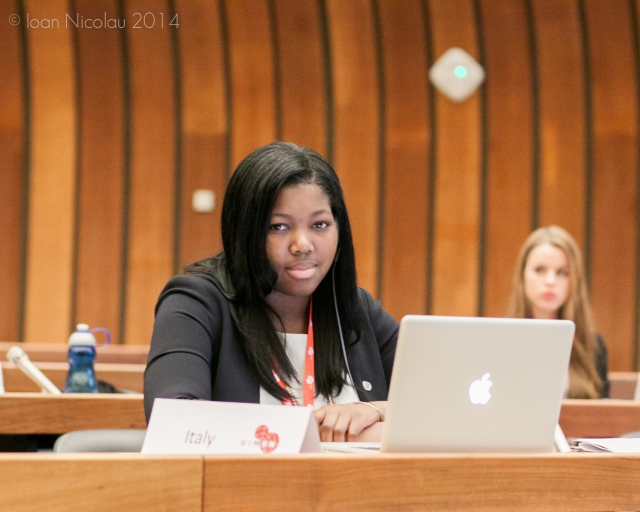 Pace University student Shade Quailey '15 representing Italy in  a simulation of the Human Rights Council at the 2014 Geneva International Model UN conference.