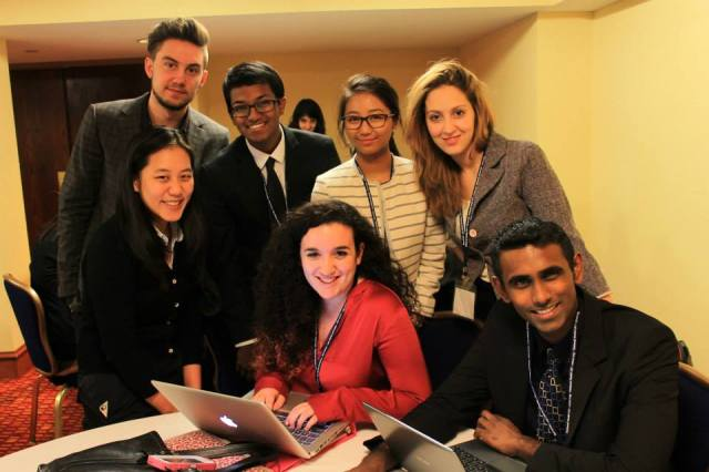 Oleh Puryshev '16 (top left), in negotiations on vector-borne diseases at the 2014 National Model UN conference in Washington DC.
