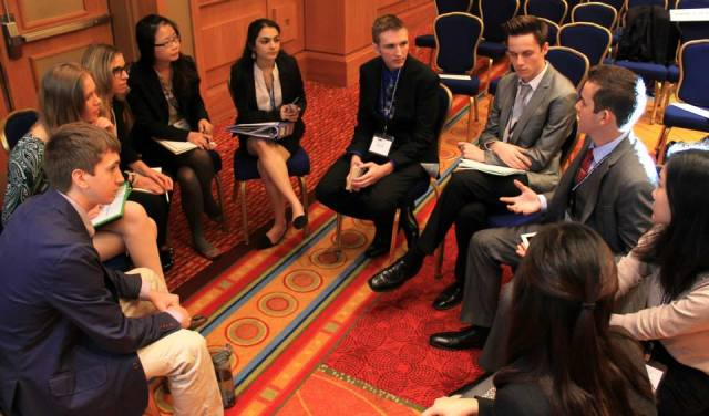 Priya Sakaria '17 negotiating policy solutions to refugee crises at the 2014 National Model UN conference in Washington DC.