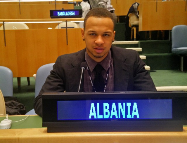 Pace student Jason Davis representing Albania in the United Nations General Assembly Room at the 2015 National Model UN conference in New York City.