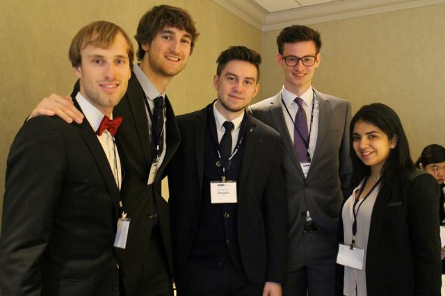 Pace student Oleh Puryshev (center) with other students in the simulation of the UN Security Council at the 2015 National Model United Nations conference in New York City.