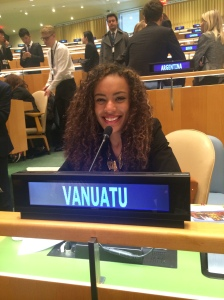 Pace student Yasmine Coccoli, representing Vanuatu in the United Nations General Assembly Room during the 2015 National Model UN conference in New York City.