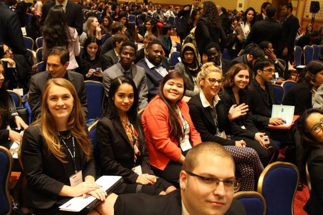 Pace University New York City Model UN students await the closing ceremony of the 2015 National Model UN conference in Washington DC.