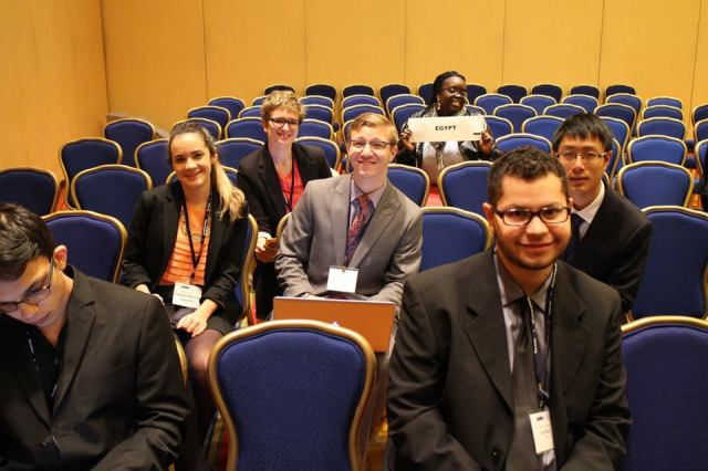 Pace University New York City students Nick Mucerino (front row, left) and Jason Vargas (front row, right) represented Serbia in a simulation of the UN Environmental Programme at the 2015 National Model UN conference in Washington DC and were recognized with an Outstanding Position Paper award