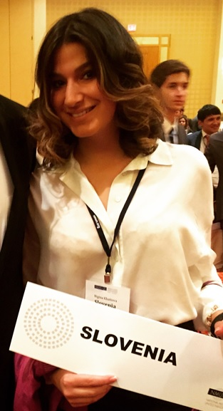 Pace University New York City student Nigina Khaitova '18 representing Slovenia at the 2015 National Model United Nations conference in Washington DC.